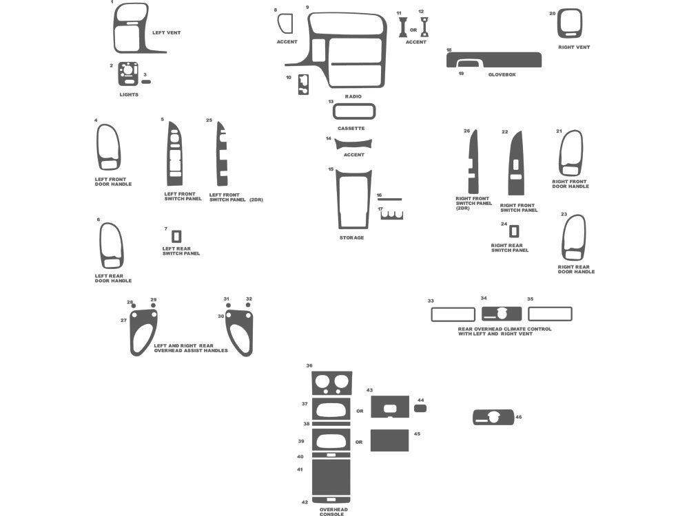 GMC Sonoma 1998-2003 Dash Kit Schematic
