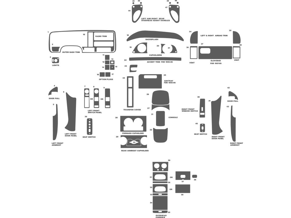 GMC Yukon 1995-1999 Dash Kit Schematic