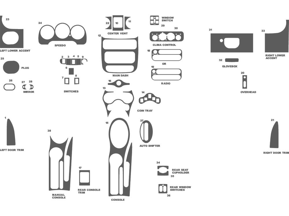 Chrysler PT Cruiser 2001-2005 Dash Kit Schematic