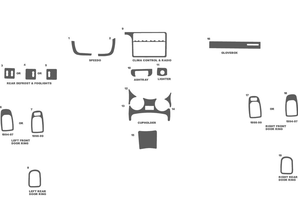 Plymouth Neon 1995-1999 Dash Kit Schematic