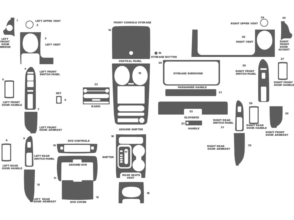 Ford Freestyle 2005-2007 Dash Kit Schematic