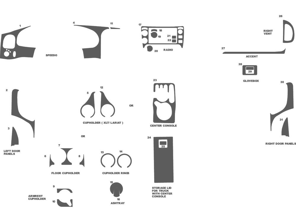Ford Ranger 1995-2002 Dash Kit Schematic