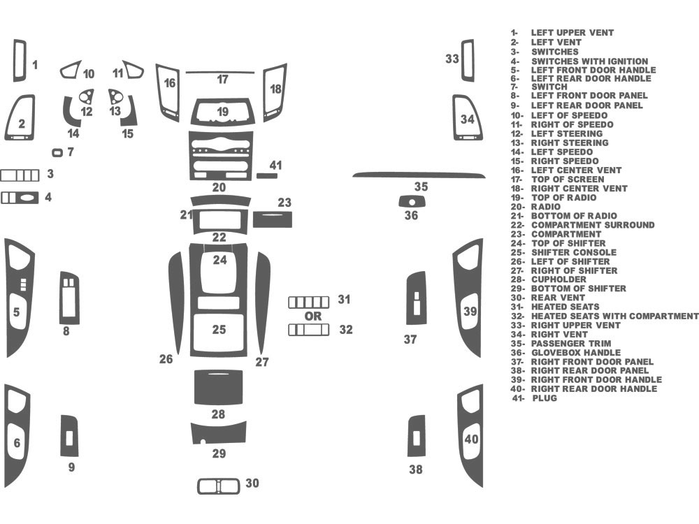 Infiniti FX50 2009-2013 Dash Kit Schematic