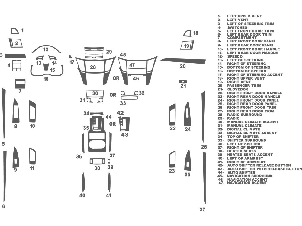Subaru Legacy 2010-2014 Dash Kit Schematic