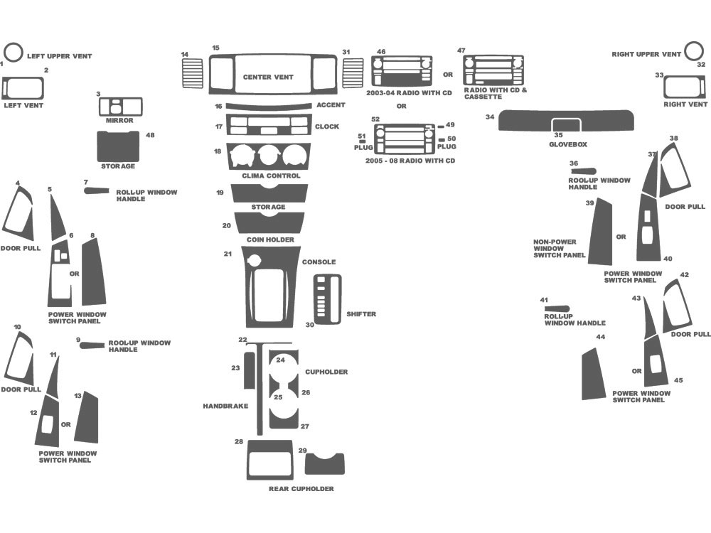 Toyota Corolla 2003-2008 Dash Kit Schematic