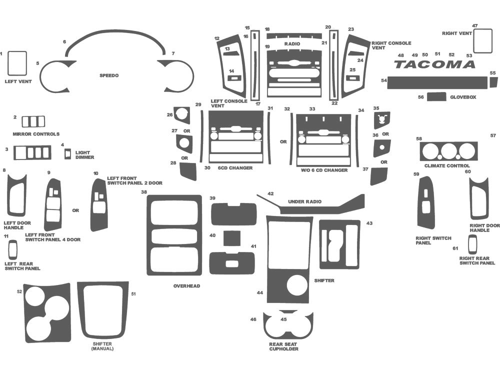 Toyota Tacoma 2005-2011 Dash Kit Schematic