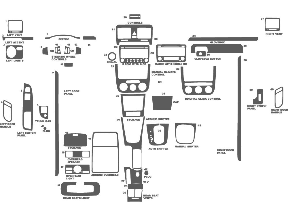 Volkswagen Jetta 2006-2010 Dash Kit Schematic