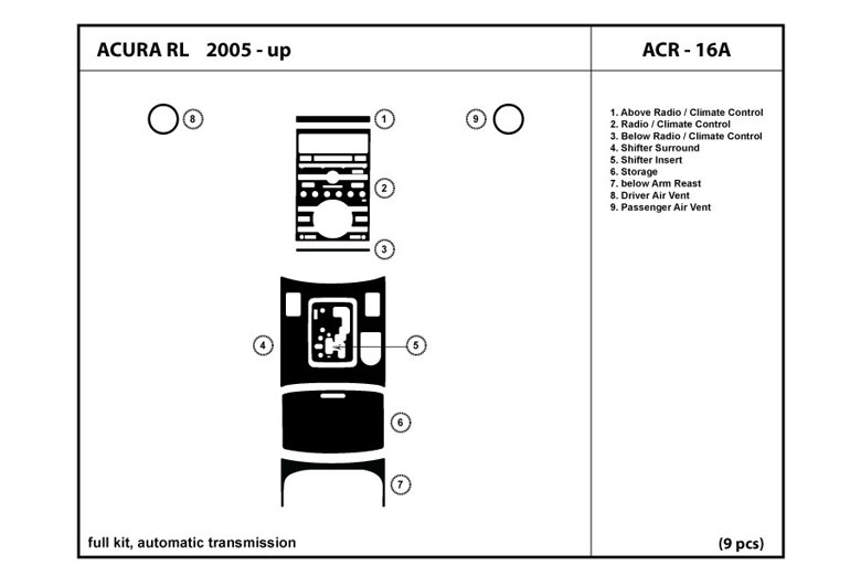 2008 Acura RL DL Auto Dash Kit Diagram