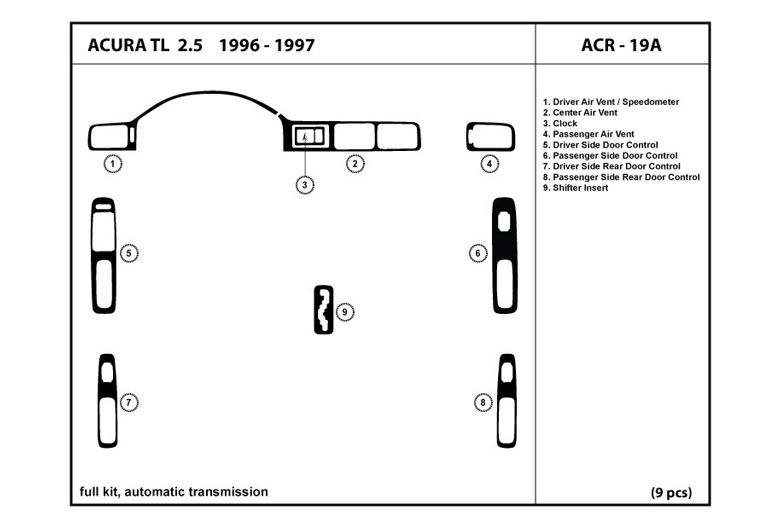 1997 Acura TL DL Auto Dash Kit Diagram