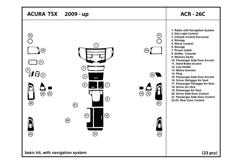 2011 Acura TSX DL Auto Dash Kit Diagram