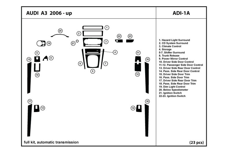 2010 Audi A3 DL Auto Dash Kit Diagram