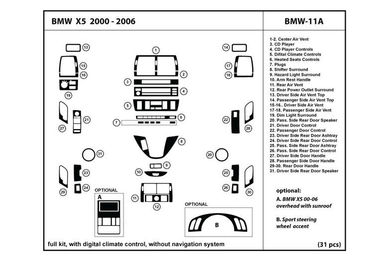 2004 BMW X5 DL Auto Dash Kit Diagram