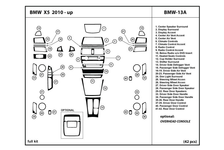2013 BMW X5 DL Auto Dash Kit Diagram