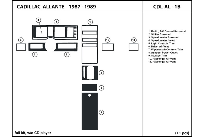 1987 Cadillac Allante DL Auto Dash Kit Diagram