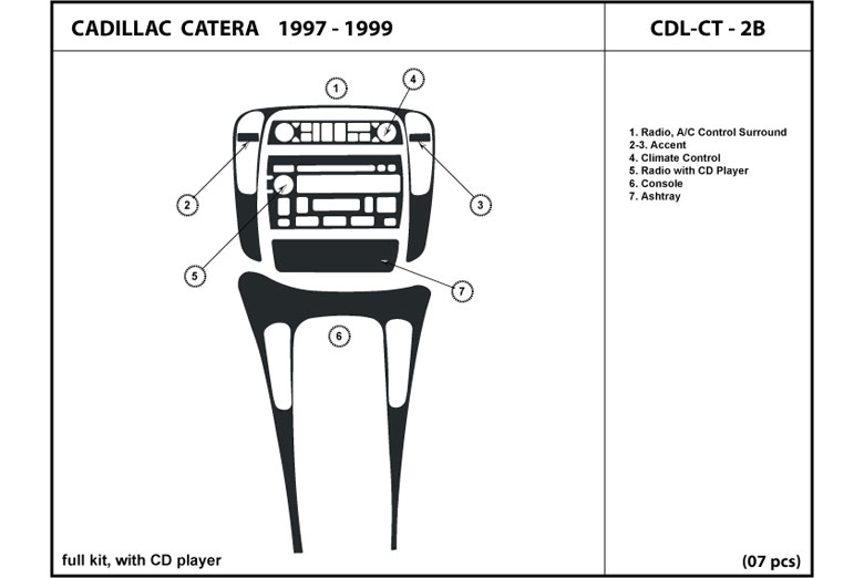 1997 Cadillac Catera DL Auto Dash Kit Diagram