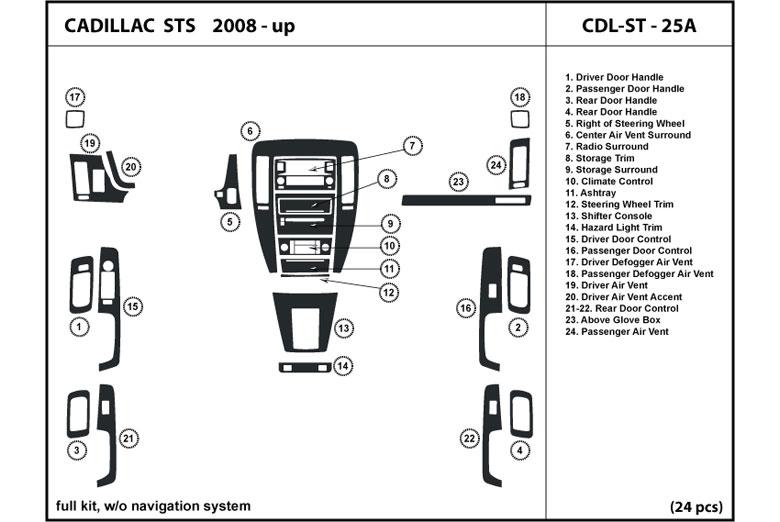 dl auto cadillac sts 2008 2011 dash kits. Black Bedroom Furniture Sets. Home Design Ideas
