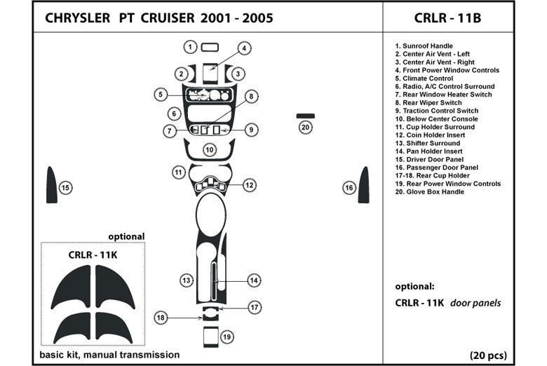2002 Chrysler PT Cruiser DL Auto Dash Kit Diagram