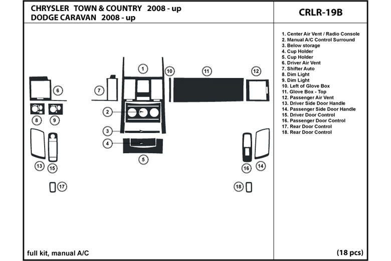 2008 Chrysler Town and Country DL Auto Dash Kit Diagram