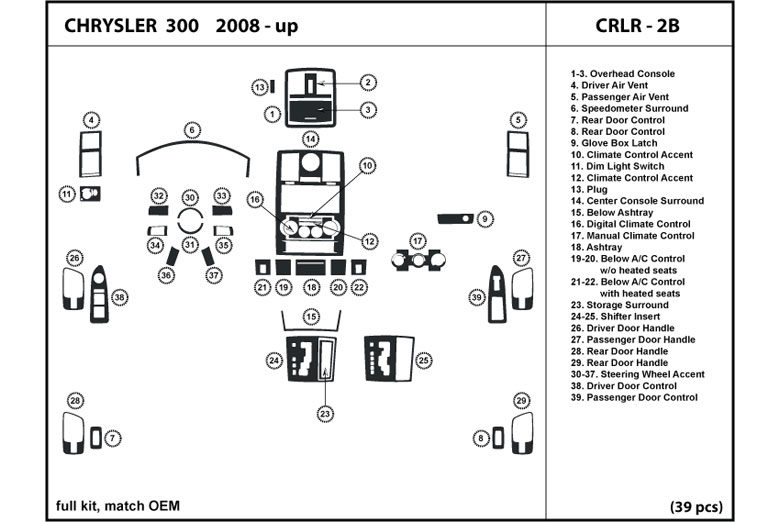 2010 Chrysler 300 DL Auto Dash Kit Diagram