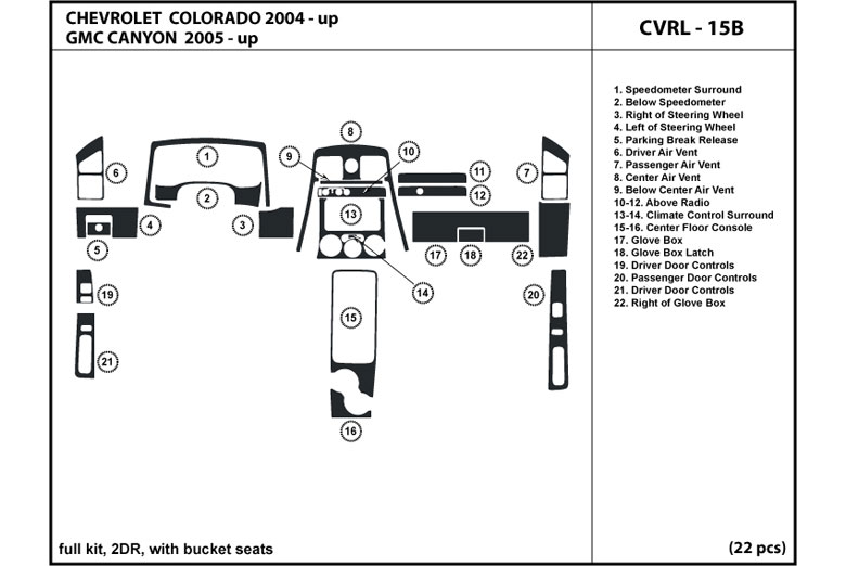 dl auto chevrolet colorado 2004 2012 dash kits. Black Bedroom Furniture Sets. Home Design Ideas