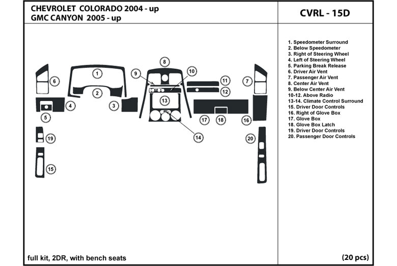 2008 Chevrolet Colorado DL Auto Dash Kit Diagram