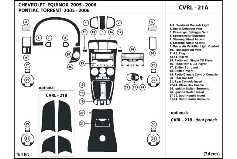 2006 Pontiac Torrent DL Auto Dash Kit Diagram