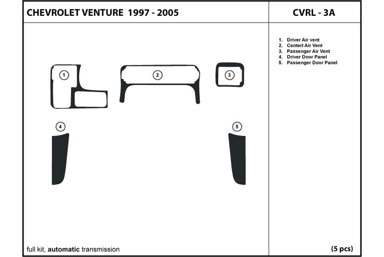 2001 Chevrolet Venture DL Auto Dash Kit Diagram