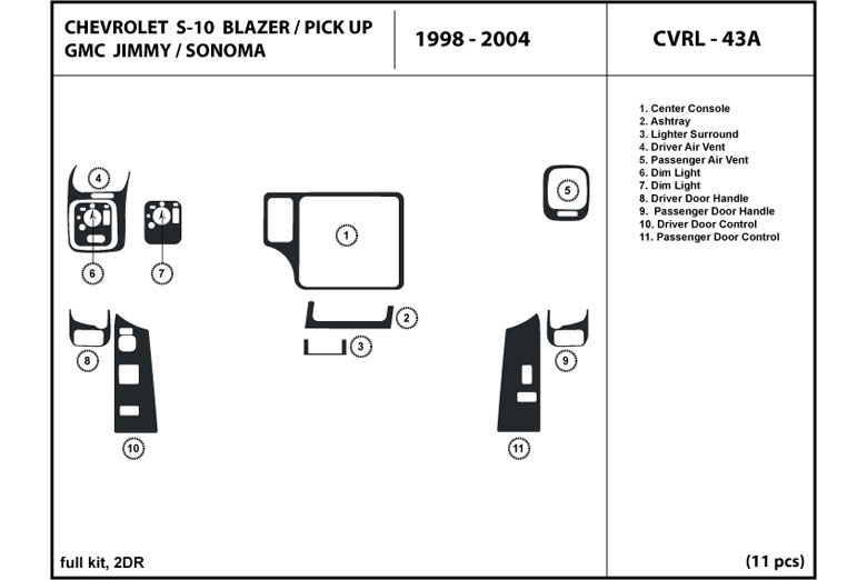 1999 GMC Sonoma DL Auto Dash Kit Diagram