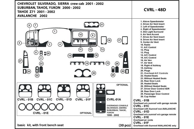 dl auto u00ae chevrolet avalanche 2002 dash kits