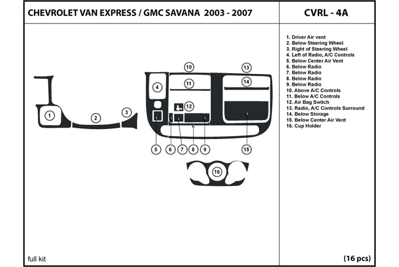 2003 GMC Savana DL Auto Dash Kit Diagram