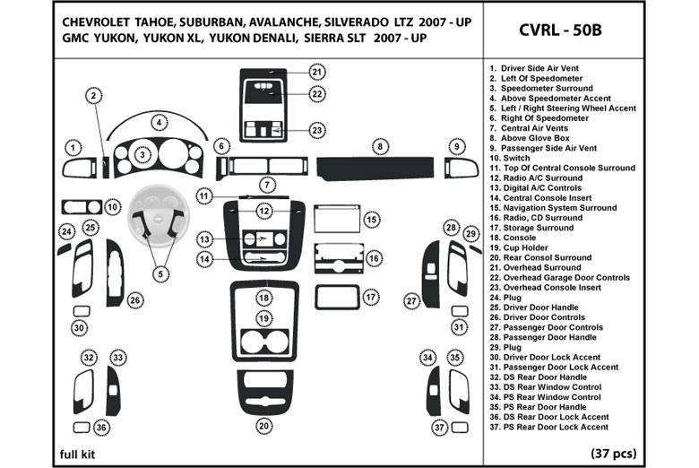 2007 Chevrolet Avalanche DL Auto Dash Kit Diagram