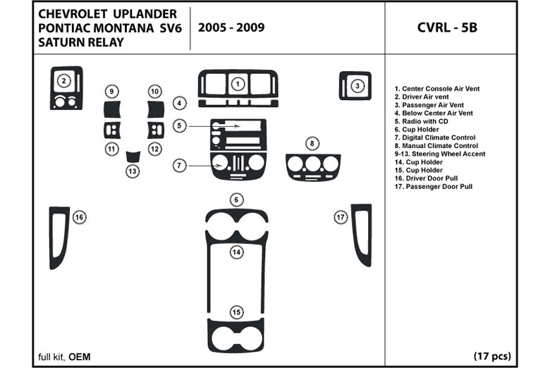 2005 Chevrolet Uplander DL Auto Dash Kit Diagram