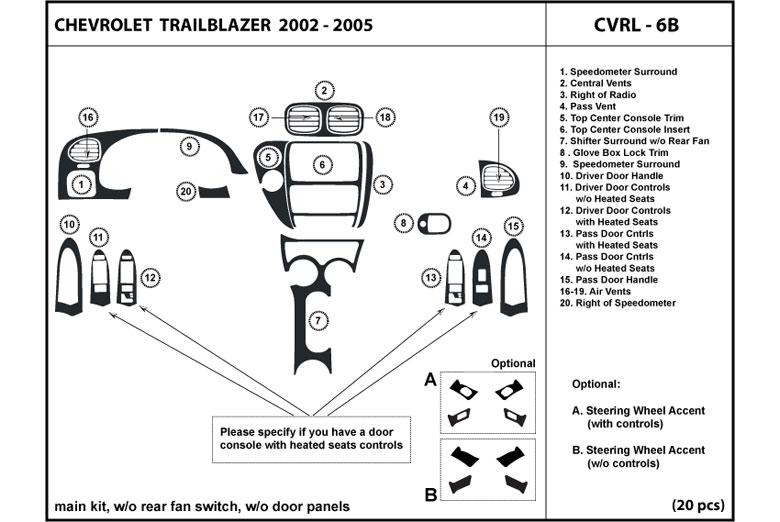 dl auto® chevrolet trailblazer 2006-2009 dash kits 2003 chevy trailblazer wiring diagram rear trailblazer dash diagram #6