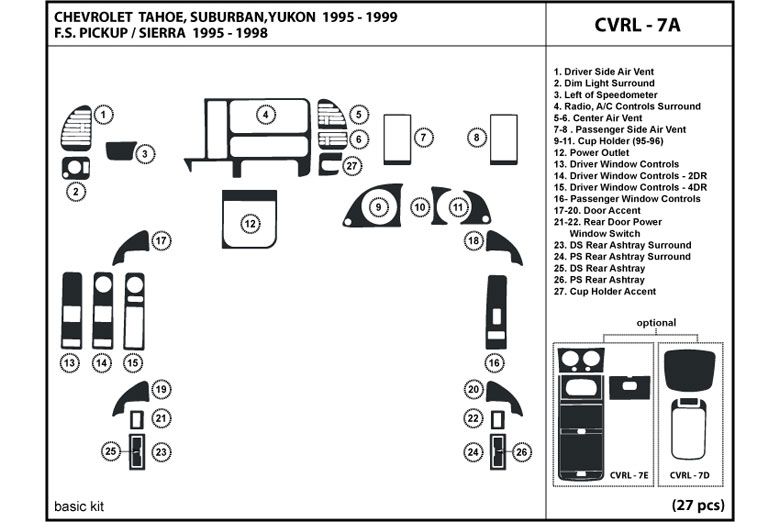 1996 GMC Yukon DL Auto Dash Kit Diagram
