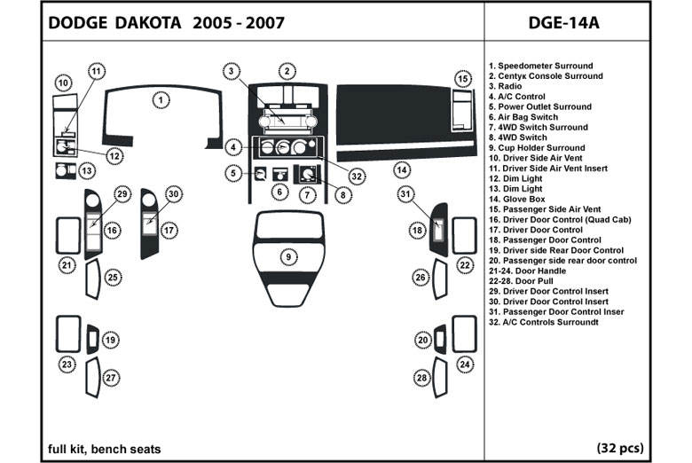 2006 Dodge Dakota DL Auto Dash Kit Diagram