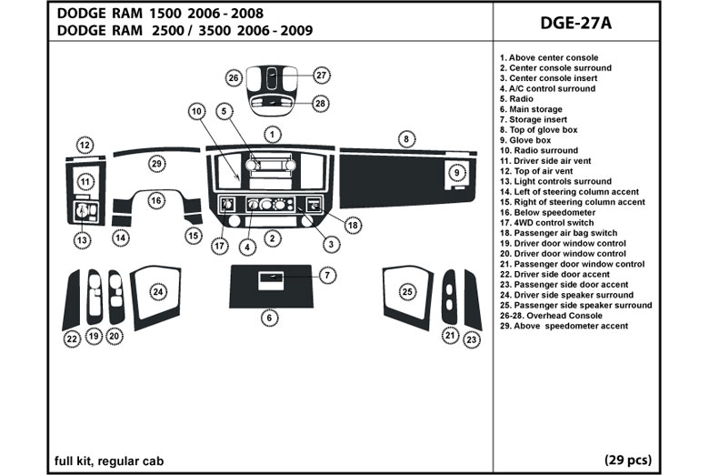 2007 Dodge Ram DL Auto Dash Kit Diagram