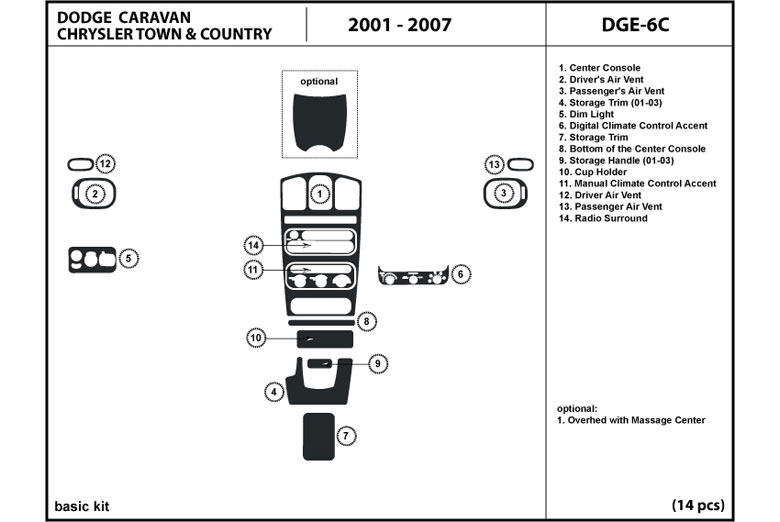 2002 Chrysler Town and Country DL Auto Dash Kit Diagram