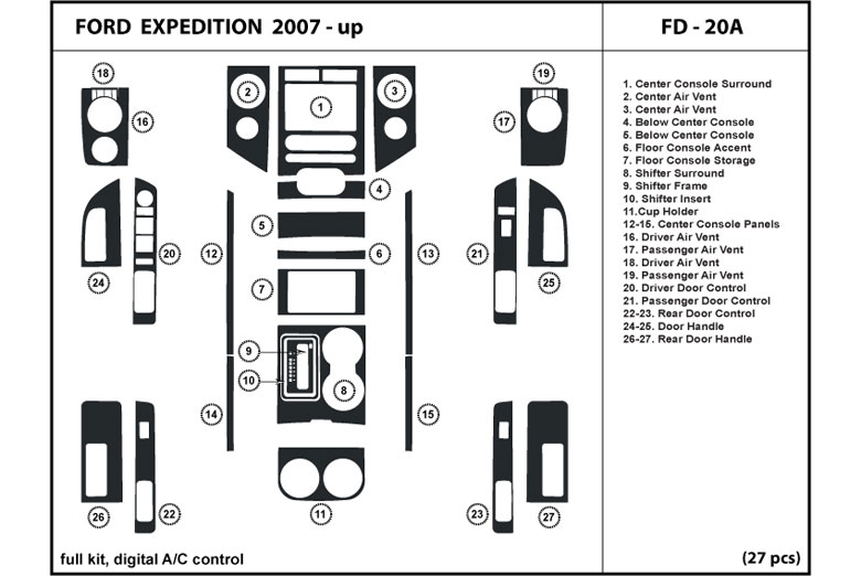 2008 Ford Expedition DL Auto Dash Kit Diagram