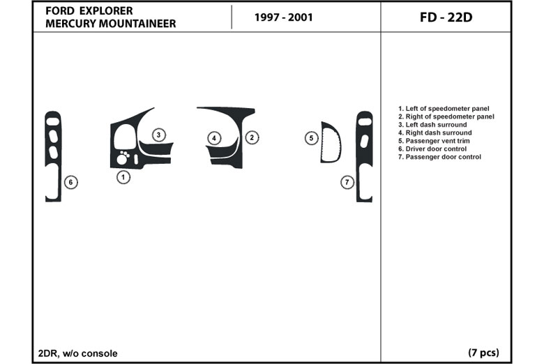2001 Mercury Mountaineer DL Auto Dash Kit Diagram