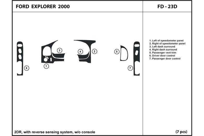 2000 Ford Explorer DL Auto Dash Kit Diagram