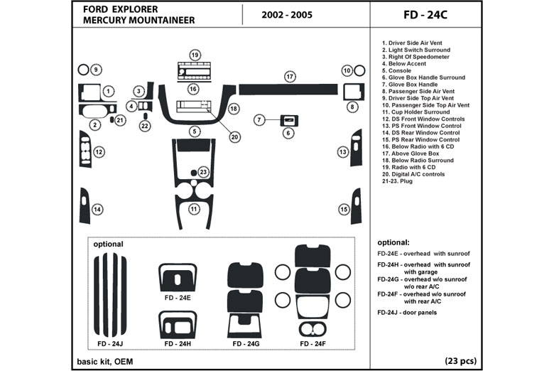 2003 Mercury Mountaineer DL Auto Dash Kit Diagram