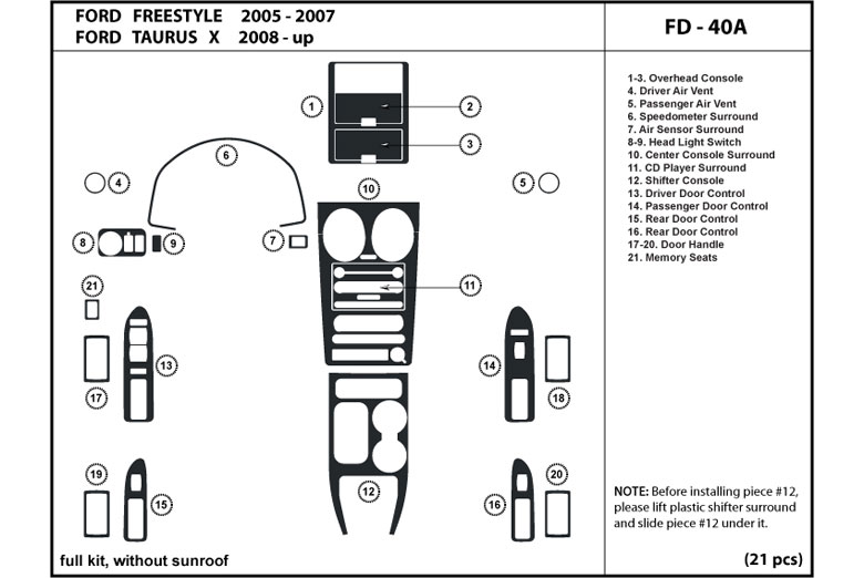 ford freestyle interior parts diagram  ford  auto wiring
