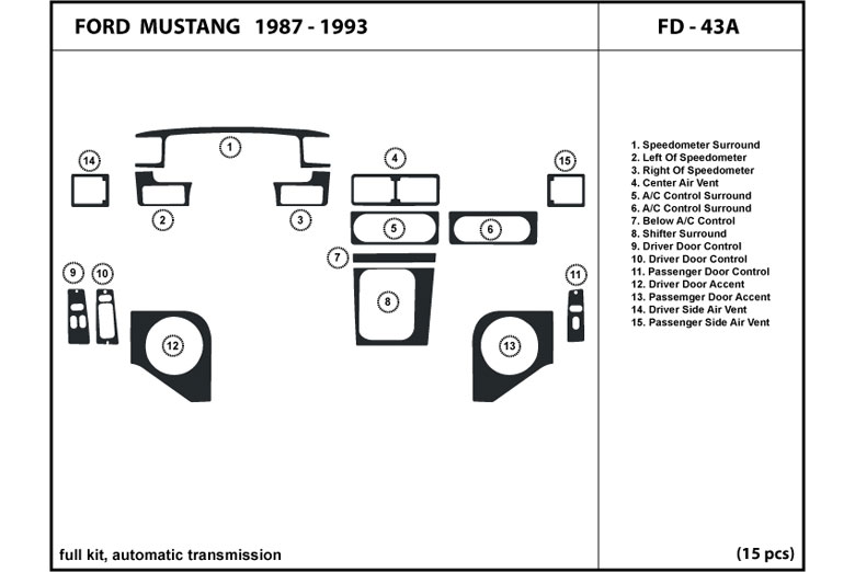 1990 Ford Mustang DL Auto Dash Kit Diagram