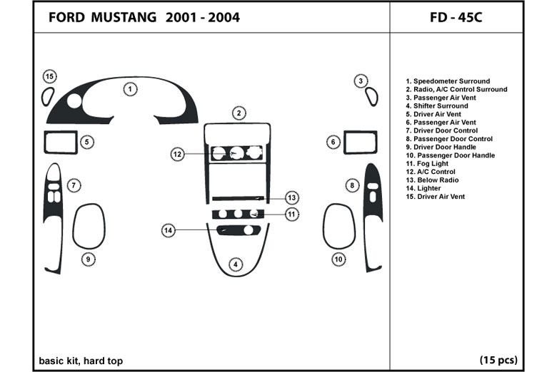 2002 Ford Mustang DL Auto Dash Kit Diagram