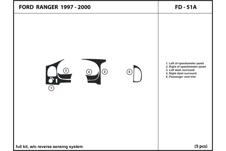 1998 Ford Ranger DL Auto Dash Kit Diagram