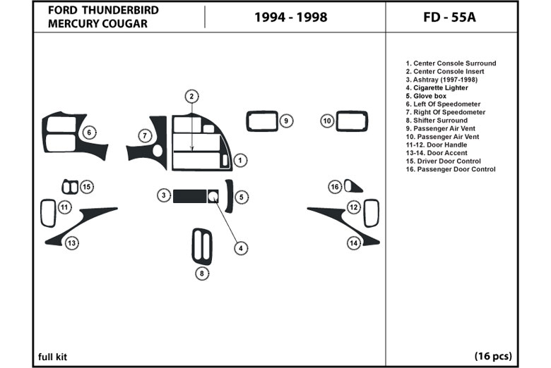 1997 Ford Thunderbird DL Auto Dash Kit Diagram