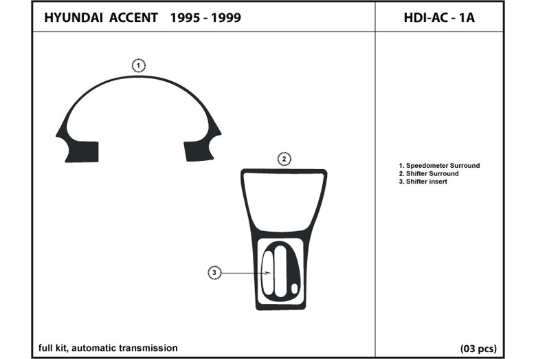 1996 Hyundai Accent DL Auto Dash Kit Diagram