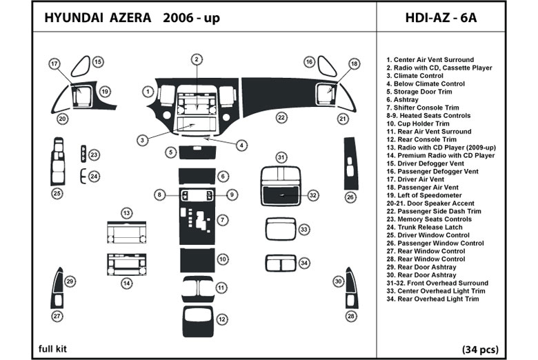 2006 Hyundai Azera DL Auto Dash Kit Diagram
