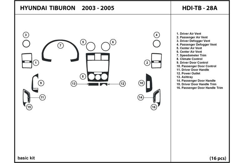 2003 Hyundai Tiburon Dash Kits