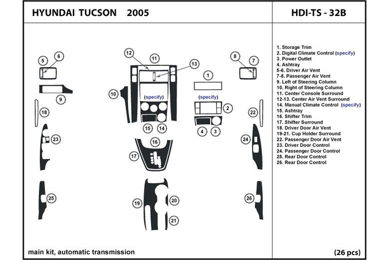 Dl Auto 174 Hyundai Tucson 2005 Dash Kits